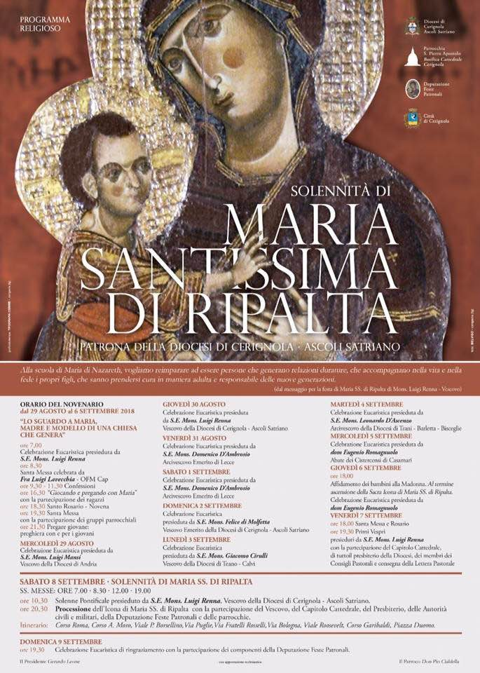 Calendario Feste Patronali Puglia.Festa Patronale Di Maria Ss Di Ripalta Diocesi Di